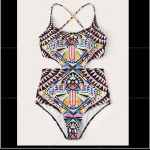 Other - Tribal Print Crisscross Lace Up One Piece